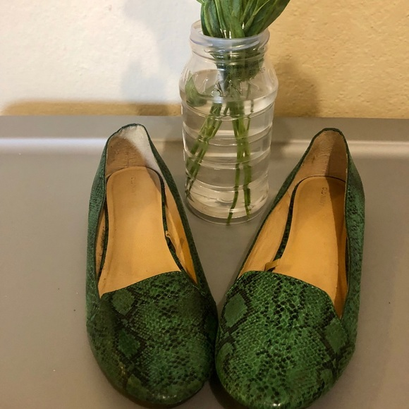 Old Navy Shoes - Green animal print flats
